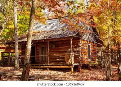 A historic log cabin at  the Georgia Mountain fair in Hiawassee, Georgia