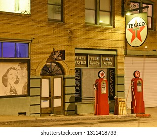 Historic Lowell, Arizona/USA - February 9, 2019: Vintage Texaco gas station by night