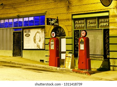 Historic Lowell, Arizona/USA - February 9, 2019: Vintage Texaco gas station by night