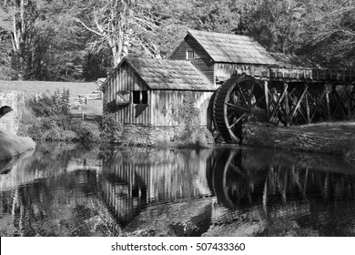 Historic Mabry Mill on the Blue Ridge Parkway in Meadows of Dan, Virginia in black and white tones