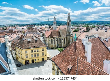 Historic Main square from Fire tower, Sopron, Hungary. Travel destination. Architectural theme.