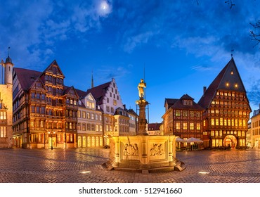 Historic market square in the old city of Hildesheim, Germany by night