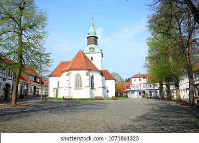 Historic marketplace in Bad Essen, Lower Saxony, Germany