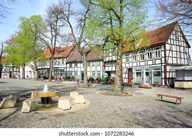 The historic marketplace in Bad Essen, Osnabruecker Land, Lower Saxony, Germany