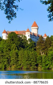 Historic medieval Konopiste Castle in Czech Republic ( central Bohemia, near Prague ) and summer pond near