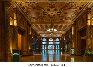 Historic Millennium Biltmore Hotel interior. Downtown Los Angeles,  April 8, 2017