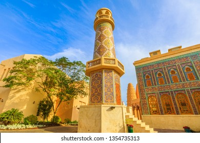 Historic Minaret of the Mosque in Katara. Katara is a cultural village also named valley of cultures in Doha, West Bay, Qatar. Middle East, Arabian Peninsula.