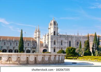 "historic monastery ""Mosteiro dos Jeronimos"" of Lisbon in Portugal"