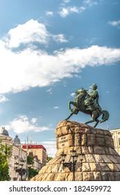 Historic monument to Hetman Bogdan Khmelnitsky on Sofia square in Kiev, Ukraine