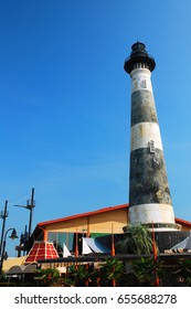 The historic Morris Island Lighthouse was moved from its coastal location to an entertainment district in Myrtle Beach, South Carolina