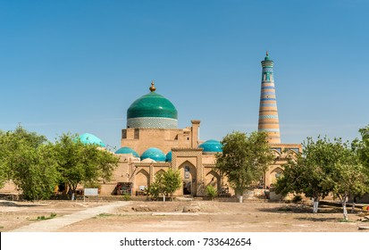 Historic mosque at Itchan Kala fortress in the historic center of Khiva. UNESCO world heritage site in Uzbekistan, Central Asia