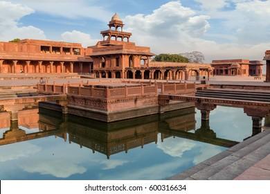 Historic Mughal Indian architecture - Anup Talao at Fatehpur Sikri Agra, India.