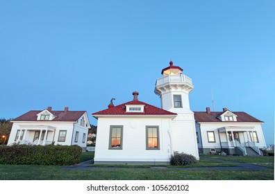 Historic Mulkiteo Lighthouse Station with lighthouse and keeper's houses in the background
