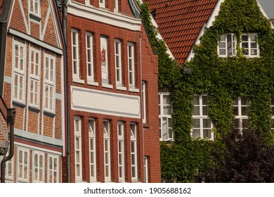 Historic multi-story timmber-framed houses in Hanseatic city of Germany