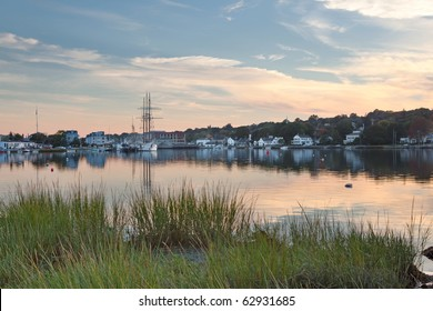 Historic Mystic Seaport in Connecticut, just seconds after sunset