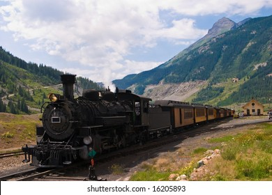 The historic narrow gauge Durango-Silverton steam locomotive approaches Silverton, Colorado.
