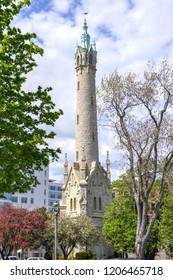 The historic North Point Water Tower in Milwaukee, Wisconsin.  Constructed of limestone the landmark is located on Milwaukee's east side.