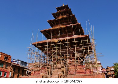 Historic Nyatapola temple, the highest pagoda in Nepal, in Bhaktapur Durbar Square with scaffolding around in order to, amongst others, repair the damages of the devastating 2015 earthquake.