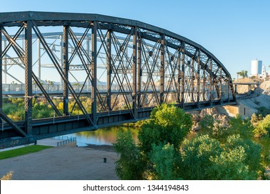 Historic Ocean-to-ocean truss bridge over Colorado river at Yuma Crossing, Arizona