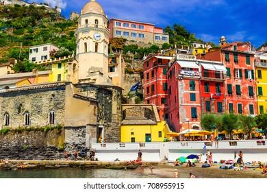 Historic old buildings in Manarola, Cinque Terre, Italy.