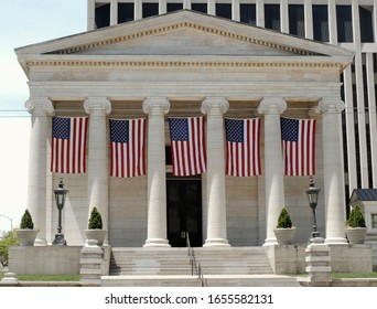 Historic Old Court House with Hanging Flags