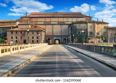 Historic old Pilotta palace (Palazzo della Pilotta) in Parma, Emilia-Romagna, Italy.