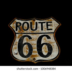 Historic old Route 66 black sign.
