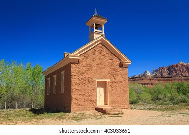 Historic old school in southern Utah, USA.