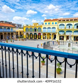 The historic Old Square or Plaza Vieja in the colonial neighborhood of Old Havana