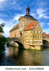 The historic old town of Bamberg with baroque architecture and iconic wood-framed houses.