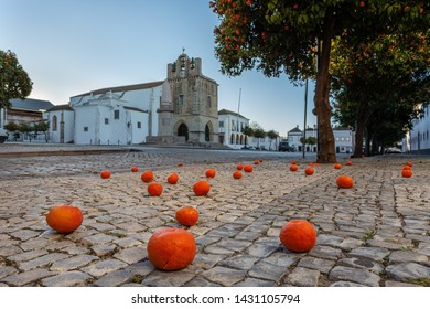 Historic old town in Faro. Portugal. Church of Santa Maria.