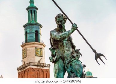Historic old town hall building architecture with statue in Poznan