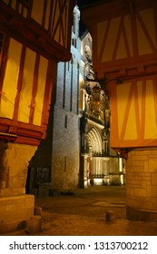 The historic old town inside the walls of Vannes city, during the night in summer. View of the cathedral Saint-Pierre entrance. Brittany, France
