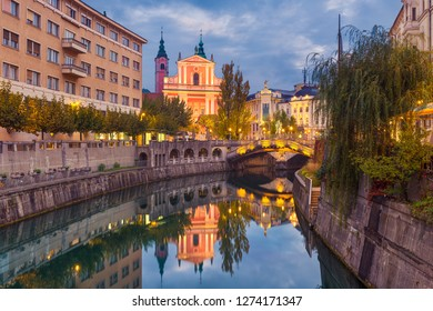 Historic old town of Ljubljana at night, Slovenia