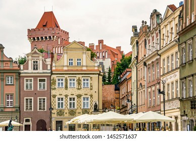 Historic old town market colorful buildings architecture in Poznan