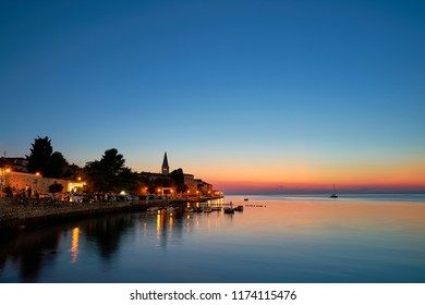historic old town of Porec on the Croatian coast in the evening