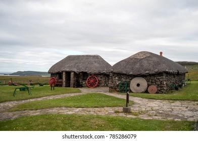 Historic original houses on the island of Skye in Scotland