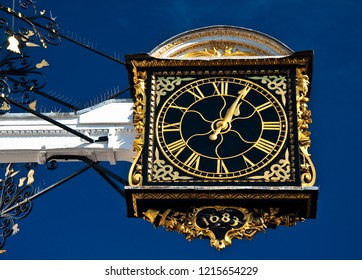 Historic ornamental town hall clock at Guildford.
