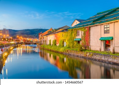 Historic Otaru Canals in Otaru, Hokkaido Prefecture, Japan at twilight.