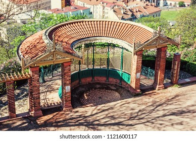 Historic outlook from Spielberg caste, Brno, southern Moravia, Czech republic. Architectural scene. Travel destination. Beauty photo filter.