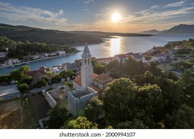The historic part of village Povlja on island Brac at sundown, Croatia