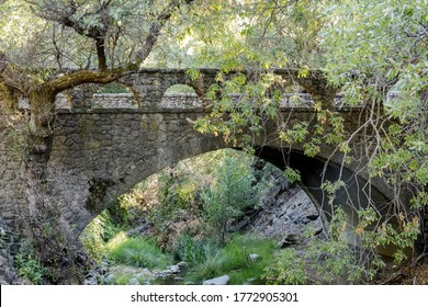 Historic Pedestrian Bridge over Penitencia Creek at Alum Rock Park. San Jose, Santa Clara County, California, USA.
