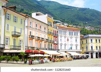 Historic Piazza Grande in Locarno, Tessin, Switzerland, 05-30-2017
