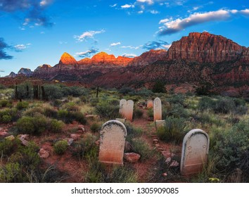 Historic pioneer cemetery in Springdale, Utah located at the entry to the Zion National Park, photographed at sunset.
