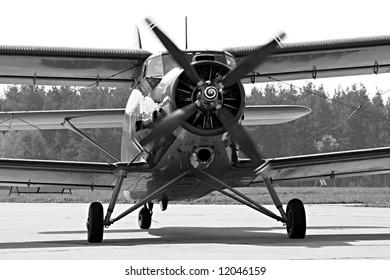 Historic plane paradropper Antonov An-2 in airport Line - Czech republic Europe