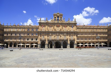 Historic Plaza Mayor in Salamanca on a sunny day, Castilla y Leon, Spain