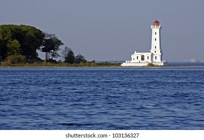 Historic Point Abino lighthouse on the Canadian shore of Lake Erie