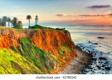 Historic Point Vicente Lighthouse at Sunset