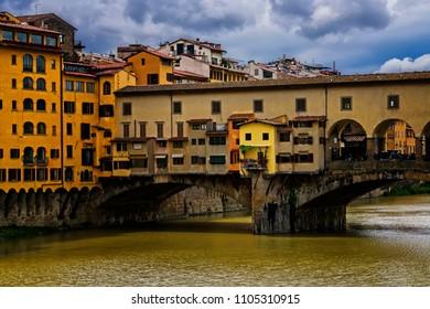 Historic Ponte Vecchio Bridge over the Arno River in Florence, Italy