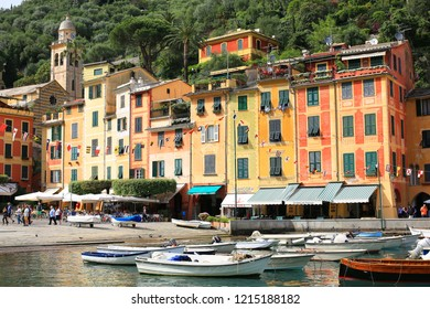 Historic Portofino in Liguria, Mediterranean Sea, Italy, 05-29-2018